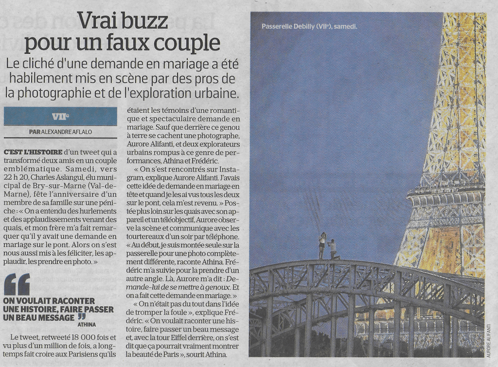 The Proposal, Paris - Publication Le Parisien - © Aurore Alifanti Photographie - French photographer, photography, Voyage, Travel